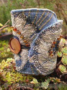 Boho Bracelet Wrist Cuff Jeans Denim and Lace by AtelierPleuntje Fiber Art Jewelry, Textile Jewelry, Fabric Jewelry, Jewelry Art, Fabric Bracelets, Ankle Bracelets, Denim Crafts, Fabric Beads, Denim And Lace