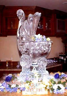 A baby shower complete with an Ice Baby Buggy sculpture