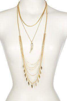 Bansri Bansri Maya Horn & Leaf Layered Chain Link Necklace