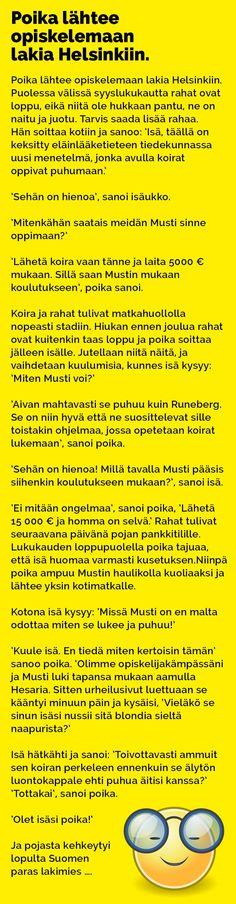 poika_lahtee_opiskelemaan_lakia_helsinkiin_2 Helsinki, Lol, Humor, Comics, Quotes, Quotations, Humour, Funny Photos, Cartoons