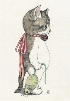 「ヒグチユウコ ポストカード」 Kitty w/Mouse::by Yuko Higuchi I Love Cats, Crazy Cats, Cute Cats, Funny Cats, Postcard Book, Art Et Illustration, Cat Illustrations, Cat Drawing, Oeuvre D'art