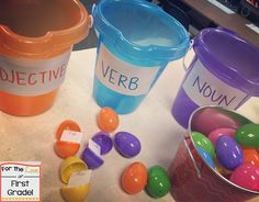 I can use this activity to help students develop literacy and understand the different parts of speech. This is a great hands-on activity because it helps students sort words. We ARE Learning Tomorrow.with an Egg Hunt of Course {and a FREEBIE for you! Grammar Activities, Teaching Grammar, Teaching Language Arts, Easter Activities, Student Teaching, Teaching Reading, Classroom Activities, Learning, Easy Grammar