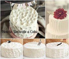 How to Decorate a Cake Cake Decorating Techniques, Cake Decorating Tips, Cookie Decorating, Sweet Desserts, Delicious Desserts, Dessert Recipes, Cake Recipes, Diy Wedding Cake, Wedding Desserts