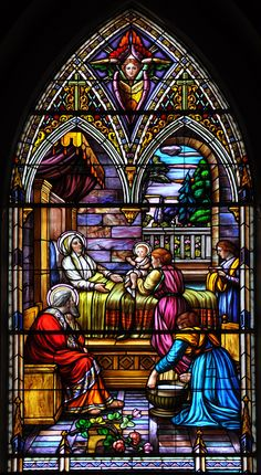 """""""Birth of Our Blessed Virgin Mary - Naissance de Marie"""" by maxkolbemedia on Flickr - Birth of Our Blessed Virgin Mary located at the Cathedral Notre-Dame d'Ottawa, Ontario, Canada: Stained glass by Guido Nincheri, Ottawa Notre-Dame Cathedral."""