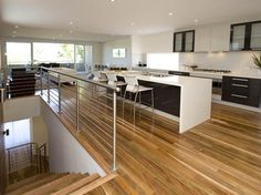 Spotted gum floors, like the black/white kitchen - bench top need a mess hider screen Timber Flooring, Kitchen Flooring, Hardwood Floors, Flooring Ideas, Black Kitchens, Home Kitchens, Spotted Gum Flooring, Kitchen Butlers Pantry, Butler Pantry