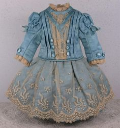 Marvelous French Blue Silk Satin Bebe Costume and Bonnet from mybebes on Ruby Lane