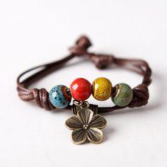 Multicolor Glazed Porcelain Beads Bracelet Bangles DIY Copper Leaf Pure Manual Weaving Adjustable Easy Rope Girls Gift