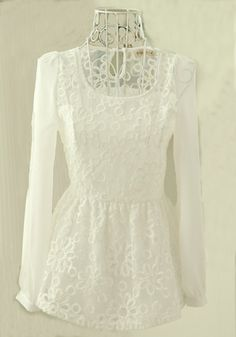 White Lace Embroidery Long Sleeve Chiffon Blouse