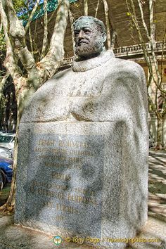 """This statue of Ernest Hemingway was a 1968 tribute by the Pamplona city Council The English translation of the dedication reads """"To Ernest Hemingway, Nobel Laureate in Literature, friend of this city and admirer of its fiestas."""