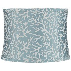 Unari Teal with Coral Pattern Drum Lamp Shade 13x14x10 (Spider) - Style # 16K81