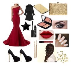 """""""Red Carpet Glam"""" by jannethh ❤ liked on Polyvore featuring Giuseppe Zanotti, Disney, AG Adriano Goldschmied, Alexis Bittar, NARS Cosmetics, Lancôme, H&M and Goldgenie"""