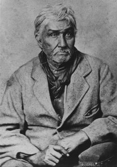 A photograph of Jesse Chisholm, an Indian trader, guide and interpreter. He is best known for being the namesake to the Chisholm Trail, which Texas ranchers used to drive their cattle into Kansas and then ship by rail to eastern markets.
