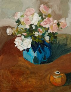 Laura Jones, Roses in Turquoise Vase 2013, oil on linen, 92 x 71 cm