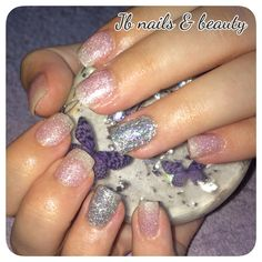 Pink & silver sparkly acrylic overlays on natural nails