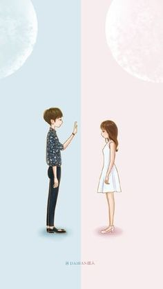 Two worlds of simple kind of love. Cute Couple Art, Anime Love Couple, Couple Cartoon, Cute Anime Couples, Cute Anime Boy, Cute Couple Wallpaper, Love Wallpaper, Action Wallpaper, Cover Wattpad