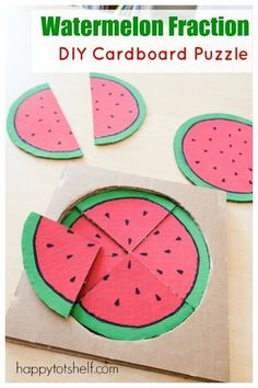 DIY Watermelon puzzle to teach preschoolers fractions - Happy Tot Shelf Diy Learning Toys, Preschool Learning Activities, Preschool Curriculum, Infant Activities, Preschool Activities, Nanny Activities, Learning Games, Summer Activities, Teaching Math