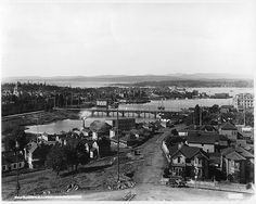 Victoria from cathedral tower, BC, 1897 Victoria City, Victoria Bc Canada, Victoria British Columbia, Old Time Photos, Old Pictures, Christ Cathedral, Victoria Vancouver Island, Canadian History, Vintage Photographs