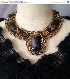 ON SALE Embroidered NecklaceStunning Black and by bjswearableart, $81.00
