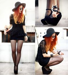 Rocking a black lace Peplum, Jessicabuurman Wedges, and a floppy hat, her hair is what caught my inspiration. Red blond ombre.