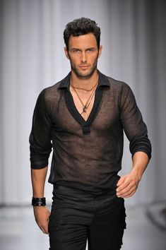 hot gay men in distressed clothes Mens Designer Shirts, Mens Designer Clothes, Sheer Shirt, Moda Fashion, Men Street, Looks Style, Mode Style, Men Looks, Men Casual