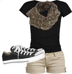 Summer clothes- black tee, khaki shorts, leopard scarf, minus the shoes. ..