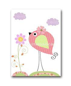 Bird Decor Nursery art print nursery decor baby by artbynataera