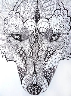 zentangle wolf by ~lupinemoonfeather on deviantART