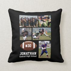 Shop Custom Football Photo Collage Player Name # Team Throw Pillow created by colorfulgalshop. Personalize it with photos & text or purchase as is! Photo Pillows, Baby Pillows, Accent Pillows, Photo Collage Board, Collage Template, Custom Football, Football Photos, Photocollage, Coach Gifts