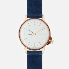 M12 SWISS ROSE-GOLD/WHITE WATCH ON NAVY-BLUE LEATHER STRAP - Watches