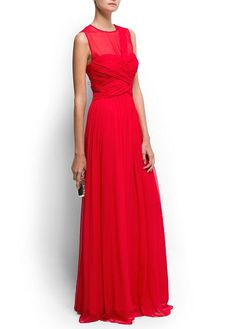 Draped long silk dress - MNG