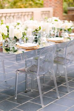 Ghost chairs: http://www.stylemepretty.com/washington-dc-weddings/2015/10/20/modern-mint-white-garden-wedding-inspiration/ | Photography: Kelsey Thompson - http://kthompsonphotography.com/