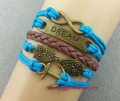 Anchor bracelet owl bracelet dream infinity by Charmgift009, $4.99