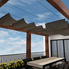 Best Seller Retractable Shade Canopy Replacement Cover Pergola Frame Slide Wire Cable Wave Drop Shade Cover Shade Sail Awning Patio Deck Yard Porch Beige 7 ' x 14 ' online - Toplikestore - Pergola Ideas Timber Pergola, Steel Pergola, Outdoor Pergola, Backyard Pergola, Awning Patio, Diy Awning, Patio Decks, Outdoor Shade, Outdoor Patios