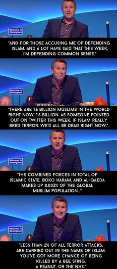 "When he defended Islam shortly after the Charlie Hebdo attacks in Paris earlier this year. | 13 Times Adam Hills Completely Nailed It On ""The Last Leg"""