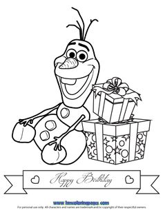olaf birthday with gifts coloring page Frozen Coloring Pages, Summer Coloring Pages, Christmas Coloring Pages, Coloring Book Pages, Printable Coloring Pages, Anna Y Kristoff, Anna Y Elsa, Coloring Pages For Teenagers, Coloring Pages For Kids