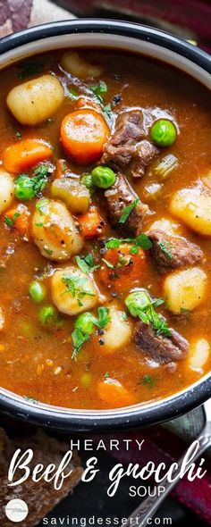 Hearty Beef and Gnocchi Soup is a warming and delicious chunky soup worthy of an entire meal. Serve with crusty bread to sop up all the delicious broth! soup Beef and Gnocchi Soup Beef Soup Recipes, Healthy Soup Recipes, Ground Beef Recipes, Cooker Recipes, Gnocchi Recipes, Healthy Food, Recipes Using Beef Broth, Soup Crockpot Recipes, Simple Soup Recipes
