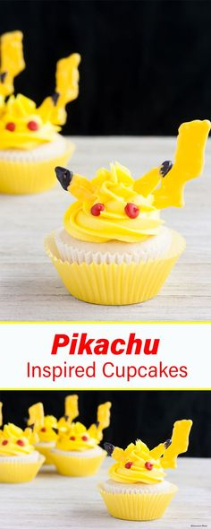 Perfect Pikachu cupcakes for a Pokemon themed party! Doctored up cake mix for the cupcakes. Homemade buttercream icing to top them with. Complete with Pikachu features!