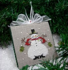 Completed Snowman Cross Stitch Christmas от SnowBerryNeedleArts