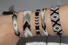Loom Bracelet Patterns, Bead Loom Bracelets, Bead Loom Patterns, Woven Bracelets, Beaded Jewelry Patterns, Bracelet Designs, Beading Patterns, Handmade Bracelets, Fashion Bracelets