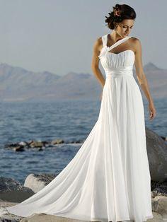 Cheap White Empire Waist Double Straps Sweetheart Chiffon Wedding Dres