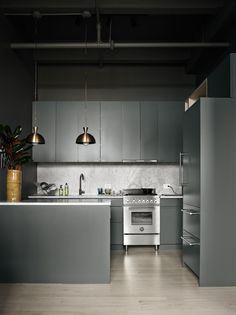 grey kitchen, gold metal pendant lights
