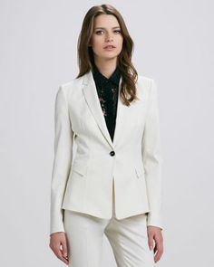 One-Button+Blazer%2C+White+by+Burberry+Prorsum+at+Bergdorf+Goodman.     Wool suiting with contrast buttons.     Notched collar; one-button front.     Welt pocket on left chest.     Angled flap pockets at hip.     Long sleeves with button cuffs.     Slim silhouette.     Virgin wool/spandex.     Dry clean.     Made in Italy.