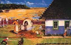 """""""Baking Easter Bread"""" by William Kurelek, Easter is the most important holiday for many Ukrainian people in Western Canada. This painting shows the round-topped outdoor oven and a baker moving loaves with a peel. Masonry Oven, William Kurelek, Bbq World, Brick Oven Outdoor, Canadian Prairies, Historical Fiction Novels, Bread Oven, Chuck Wagon, Ukrainian Art"""