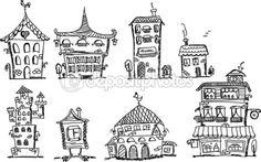 Cartoon hand tekenen van huizen — Stockillustratie #37447593