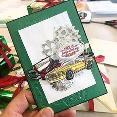 Stampin' Up! Geared up garage Masculine Birthday Cards, Birthday Cards For Men, Masculine Cards, School Scrapbook Layouts, Scrapbook Cards, Scrapbooking, Boy Cards, Stamping Up Cards, Fathers Day Cards