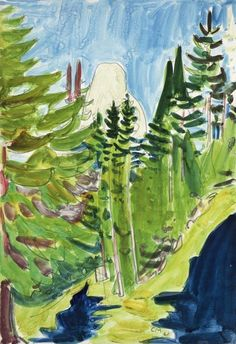 Cuno Amiet (Swiss, 1868-1961), Landschaft mit Bäumen [Landscape with Trees], 1921. Pencil and watercolour on paper, 30.5 x 21 cm.