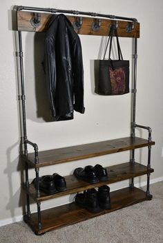 Entryway Bench with Coat Rack and Shoe Rack Industrial Style   Etsy Industrial Shoe Rack, Industrial Style, Hall Tree Bench, Entryway Bench, Entryway Hooks, Shoe Rack Mudroom, Shoe Racks, Coat And Shoe Rack, Clothes Hooks