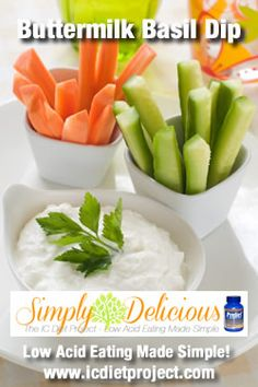 Buttermilk Basil Dip from the IC Diet Project (aka Simply Delicious: Low Acid Eating Made Simple) made possible by Prelief and the Interstitial Cystitis Network!