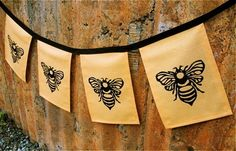 Honey bee flags by WindsparrowStudio on Etsy, $25.00