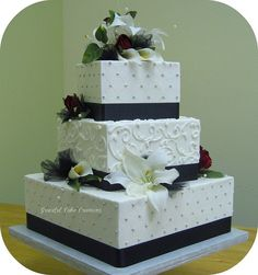 Definitely find myself attracted to the simple yet beautiful and classy cakes.  Square White and Black Wedding Cake by Graceful Cake Creations, via Flickr